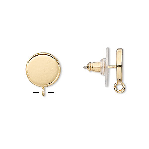 earstud, gold-plated steel and stainless steel, 10mm round with open loop. sold per pkg of 2 pairs.