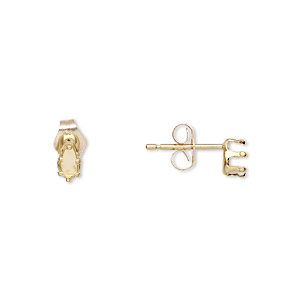 earstud, snap-tite, 14kt gold-filled, 5x3mm 6-prong pear setting. sold per pair.