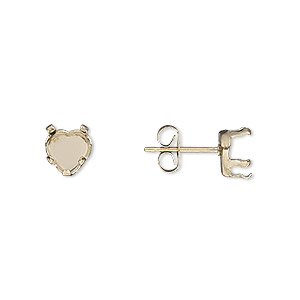 earstud, snap-tite, 14kt gold-filled, 6mm 5-prong heart setting. sold per pair.
