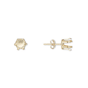 earstud, snap-tite, 14kt gold-filled, 6mm 6-prong round setting. sold per pair.