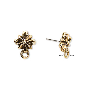 earstud, stainless steel and antique gold-plated pewter (tin-based alloy), 11x11mm radiating swirl with closed loop. sold per pkg of 2 pairs.