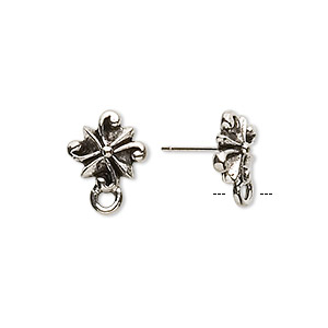 earstud, stainless steel and antique silver-plated pewter (tin-based alloy), 11x11mm radiating swirl with closed loop. sold per pkg of 2 pairs.