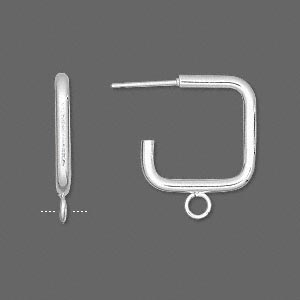 earstud, stainless steel and silver-plated steel, 17x17mm 3/4 square with loop. sold per pkg of 50 pairs.