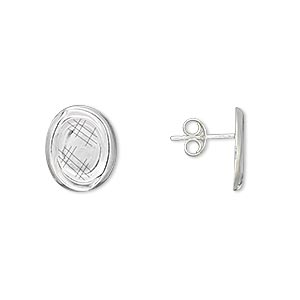 earstud, sterling silver, 12x10mm oval with 8x6mm oval setting. sold per pair.