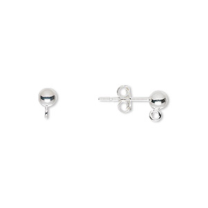 earstud, sterling silver, 4mm ball with open loop. sold per pkg of 5 pairs.