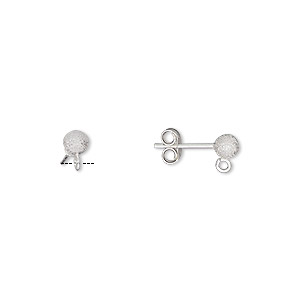 earstud, sterling silver, 4mm stardust ball with open loop. sold per pair.