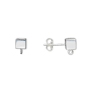 earstud, sterling silver, 5x5mm cube with open loop. sold per pair.