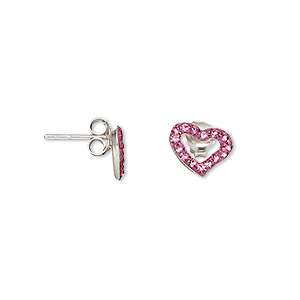earstud, sterling silver and crystal, rose, 10x7mm open heart. sold per pair.