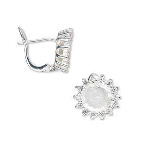 earstud, sterling silver and cubic zirconia, clear, 13x13mm flower with 7mm round setting. sold per pair.