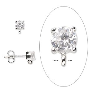 earstud, sterling silver and cubic zirconia, clear, 7x4mm with 4mm faceted round and open loop. sold per pair.