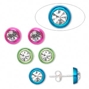 earstud, sterling silver and rhinestone, assorted colors, 8mm round. sold per pkg of 3 pairs.