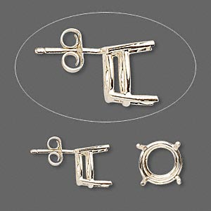 earstud, sure-set™, 14kt gold, 10mm with 4-prong round basket setting. sold per pair.