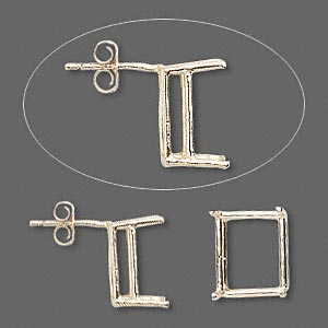 earstud, sure-set™, 14kt gold, 12x10mm with 4-prong emerald-cut basket setting. sold per pair.