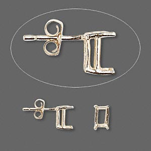 earstud, sure-set™, 14kt gold, 6x4mm with 4-prong emerald-cut basket setting. sold per pair.