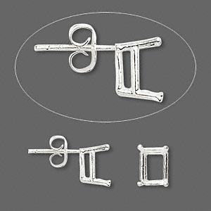 earstud, sure-set™, sterling silver, 8x6mm with 4-prong emerald-cut basket setting. sold per pair.