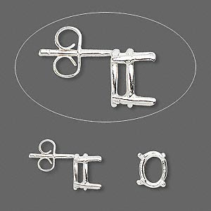 earstud, sure-set™, sterling silver, 8x6mm with 4-prong oval basket setting. sold per pair.