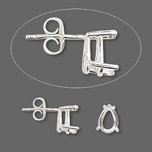 earstud, sure-set™, sterling silver, 9x6mm with 4-prong pear basket setting. sold per pair.