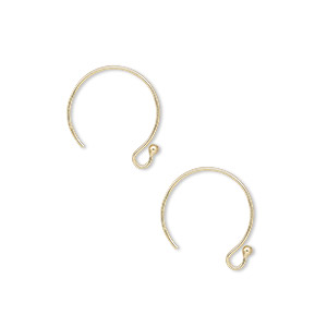 earwire, 14kt gold-filled, 12mm french hook with 1.5mm ball and open loop, 22 gauge. sold per pair.