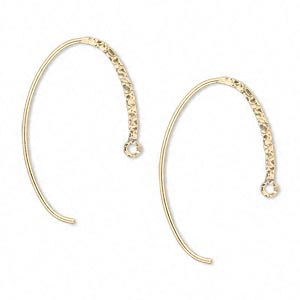 earwire, 14kt gold-filled, 19mm textured flat oval with closed loop, 20 gauge. sold per pair.