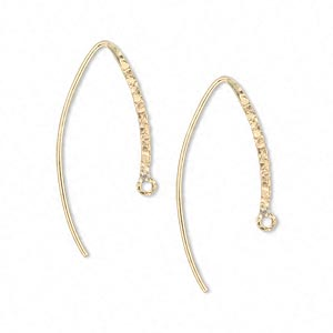 earwire, 14kt gold-filled, 20mm textured flat marquise with closed loop, 20 gauge. sold per pair.