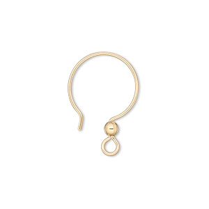 earwire, 14kt gold-filled, 22mm french hook with 3mm ball and open loop, 20 gauge. sold per pkg of 2 pairs.