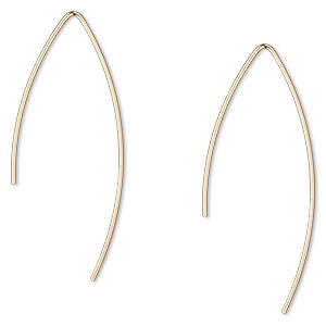 earwire, 14kt gold-filled, 28mm marquise, 20 gauge. sold per pair.