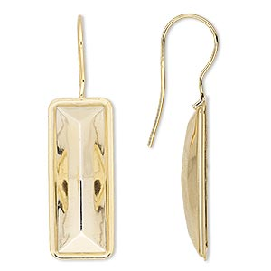 earwire, almost instant jewelry, gold-plated brass, 40x13mm fishhook with 24x8mm rectangle setting, 20 gauge. sold per pkg of 2 pairs.