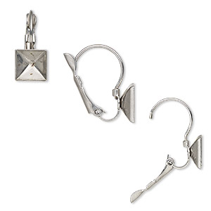 earwire, almost instant jewelry, stainless steel, 18mm leverback with 8x8mm square setting. sold per pkg of 2 pairs.
