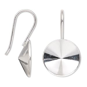 earwire, almost instant jewelry, sterling silver, 34mm fishhook with 18mm rivoli setting, 18 gauge. sold per pair.