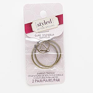 earwire and earring, antiqued brass-finished steel and pewter (zinc-based alloy), 16mm leverback and 33mm round hoop. sold per pkg of 2 pairs.