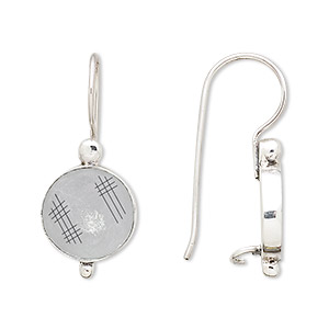 earwire, antiqued sterling silver, 30mm fishhook with 13mm round and 12mm round bezel setting with safety. sold per pair.
