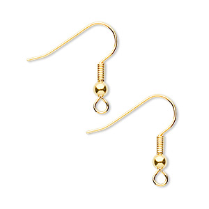 earwire, gold-finished brass, 19mm fishhook with 3mm ball and 4mm coil and open loop, 21 gauge. sold per pkg of 50 pairs.