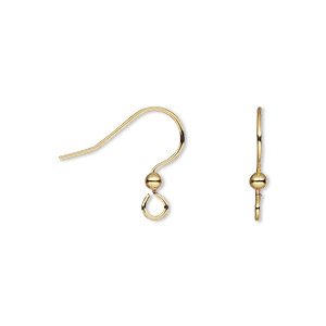 earwire, gold-finished stainless steel and brass, 13.5mm fishhook with 2.5mm ball and open loop, 21 gauge. sold per pkg of 5 pairs.