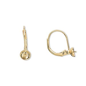 earwire, gold-plated brass, 16mm leverback with 5mm cup and peg, fits 4-6mm bead. sold per pkg of 50 pairs.