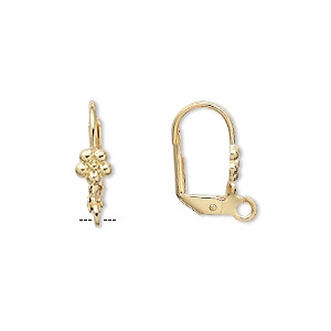 earwire, gold-plated brass, 17mm leverback with 5x5mm flower and open loop. sold per pkg of 5 pairs.