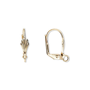 earwire, gold-plated brass, 17mm leverback with 8x4mm shell and open loop. sold per pkg of 5 pairs.