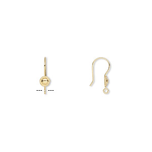 earwire, gold-plated stainless steel, 21mm fishhook with 6mm round and rope edge with open loop, 21 gauge. sold per pkg of 5 pairs.