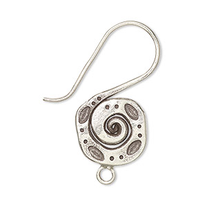 earwire, hill tribes, antiqued fine silver, 34mm fishhook with spiral and stamped dot design with closed loop, 17 gauge. sold per pair.