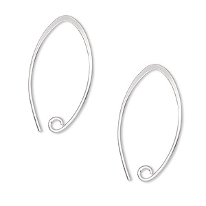earwire, hill tribes, fine silver, 26mm marquise with open loop, 20 gauge. sold per pair.
