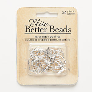 earwire, silver-finished pewter (zinc-based alloy), 17mm leverback with open loop. sold per pkg of 12 pairs.