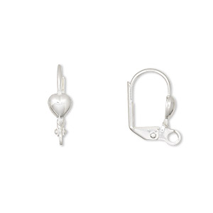 earwire, silver-plated brass, 16mm leverback with 5mm heart and open loop. sold per pkg of 50 pairs.