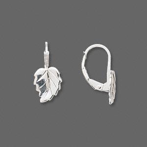 earwire, sterling silver, 17mm leverback with 10x8mm leaf. sold per pair.