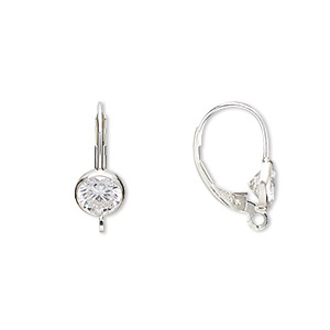 earwire, sterling silver and cubic zirconia, clear, 17mm leverback with 6mm faceted round and open loop. sold per pair.