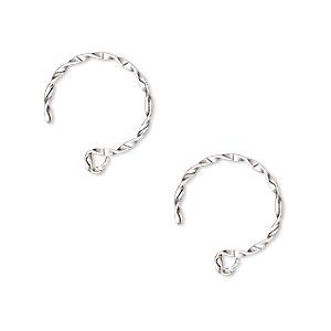 earwire, sterling silver-filled, 14mm twisted french hook with open loop, 16 gauge. sold per pair.