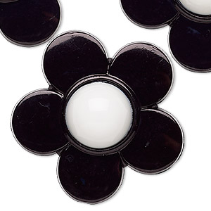 embellishment, acrylic, black and white, 39x38mm flower. sold per pkg of 6.