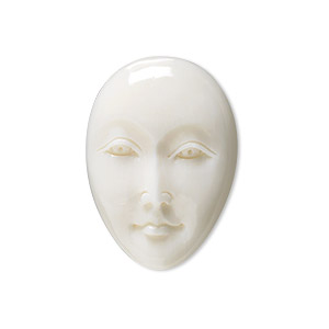 embellishment, bone (bleached), white, 26x18mm-30x22mm hand-carved single-sided undrilled oval face, mohs hardness 2-1/2. sold individually.