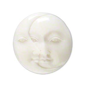 embellishment, bone (bleached), white, 29-31mm hand-carved single-sided undrilled moon face and crescent moon face, mohs hardness 2-1/2. sold individually.