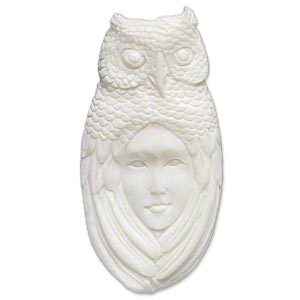 embellishment, bone (bleached), white, 62x30mm-66x34mm hand-carved single-sided undrilled spirit owl, mohs hardness 2-1/2. sold individually.