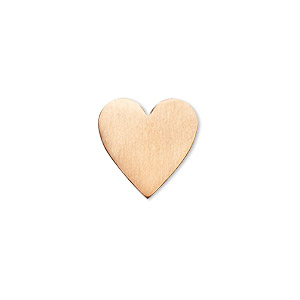 embellishment, copper, 15mm undrilled double-sided shiny flat heart blank, 18 gauge. sold per pkg of 10.