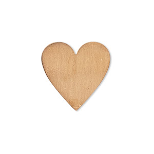 embellishment, copper, 20mm undrilled double-sided shiny flat heart blank, 24 gauge. sold per pkg of 4.